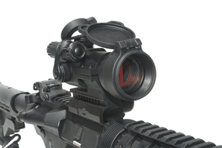 AIMPOINT PATROL RIFLE OPTIC (PRO) mounted on gun