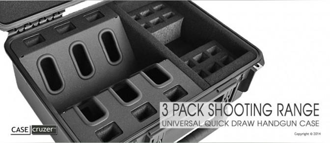 Shooting Range Handgun Case - Universal 3 Pack 2