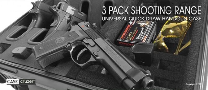 Shooting Range Handgun Case - Universal 3 Pack