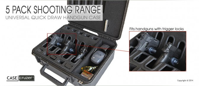 Shooting Range Universal 5 Pack Handgun Case 2