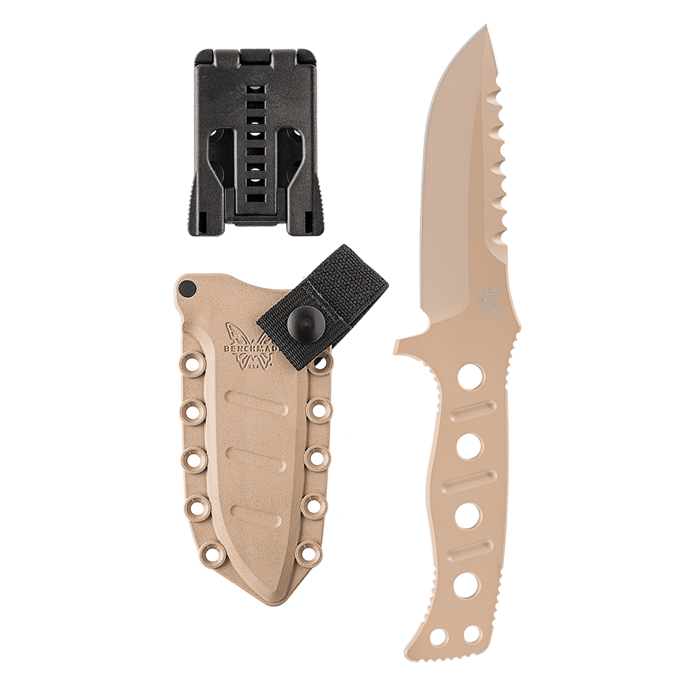 Benchmade Adamas Fixed Blade Knife, Plain Edge, Desert Sand Blade, Sand Sheath 375SN