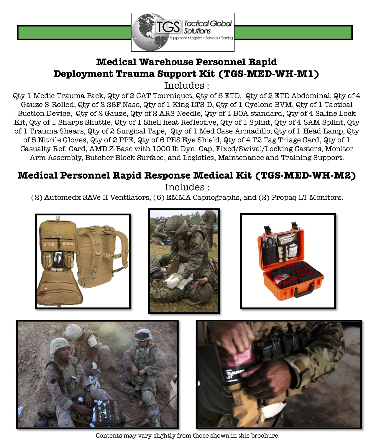 Medical Warehouse Personnel Rapid Deployment Trauma Support Kit